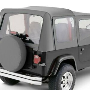 For Jeep Wrangler 1987 1995 Rampage 68111 Gray Denim Complete Soft Top