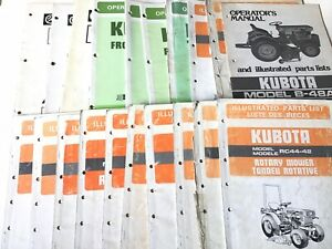Vintage Kubota Wholesale Manual Lot Operators Owners Illustrated Parts 20 Books