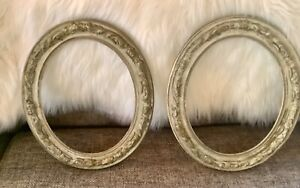 Pair Vtg Antique Oval Gesso Wood Wooden Ornate Picture Frames Shabby Farmhouse