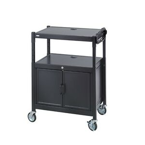 New Safco 8943bl Steel Adjustable Mobile Av Audio Video Cart With Cabinet 8943