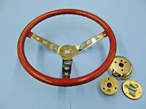 Vintage 15 Inch Red Metal Flake Steering Wheel With Hub Mounting Parts