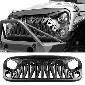 Front Matte Black Shark Grill Angry Bird Grille For 2007 2018 Jeep Wrangler Jk