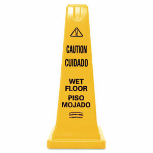 Rubbermaid Fg627777yel Four sided Caution Wet Floor Safety Cone 25 yellow