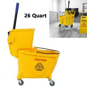 26 Quart Commercial Mop Bucket With Side Press Wringer With Wheels Yellow