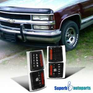 For 1994 1998 Chevy C K Silverado Tahoe Pickup Corner Lights Black Signal Lamps