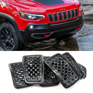 Clip In Front Grille Black Mesh Grill Inserts Cover For 2019 2021 Jeep Cherokee