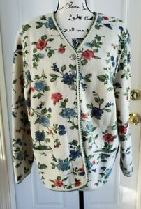 Geiger Collection Wool Button Floral Jacket Sweater Womens Size 40 Us 10