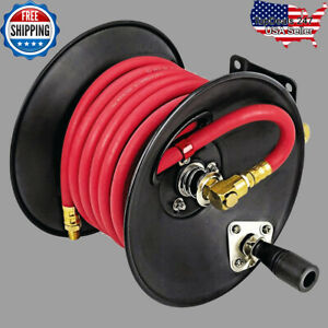 Air Compressor Hose Reel Heavy Duty 3 8 In X 30 Ft Hose Shop Tool Storage New