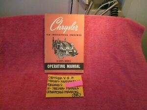 Chrysler V 8 H Series Genuine Industrial Engines Operating Manual Free Shipping