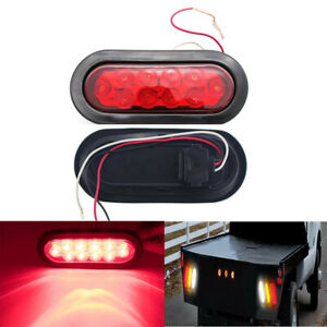 2xred 10led 6 oval Stop Tail Light Backup Reverse Truck Trailer Light Waterproof