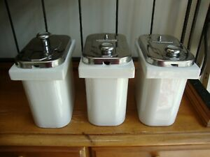 Lot Of 3 Vintage Hall Porcelain Ice Cream Soda Fountain Sundae Fruit Dispenser