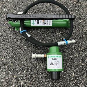 Greenlee 746 Slug buster Ram And 767 Hand Pump Hydraulic Knockout Driver Set