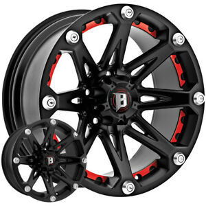 4 new 18 Inch Ballistic 814 Jester 18x9 6x135 12mm Flat Black Wheels Rims