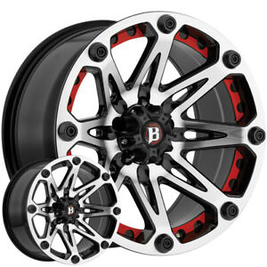 4 new 17 Inch Ballistic 814 Jester 17x9 5x4 5 12mm Black machined Wheels Rims