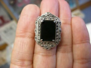 Antique Art Deco Filigree Sterling Silver Onyx Marcasite Ring Size 5 1 4 1046
