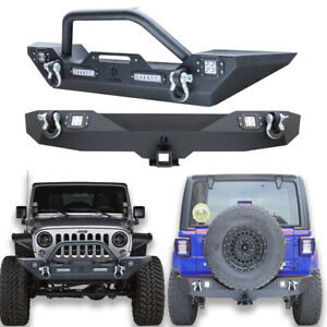 Front And Rear Bumper W Winch Plate led Lights For 07 17 Jeep Wrangler Jk jku