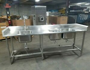 Ace Fabrication 8ft 3in Sink Stainless Steel Triple Basin Sanitary Ss Can Ship