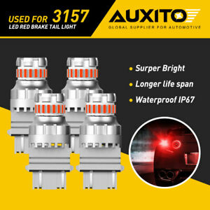 Auxito 3157 3156 3057 4157 Red Led Brake Tail Parking Stop Light Bulbs Canbus G