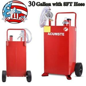 30 Gallon 8ft Hose Gas Fuel Diesel Caddy Transfer Tank Container W Rotary Pump