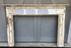 Antique Vintage Salvaged Traditional Wood Fireplace Mantle 79 Wide X 55 High