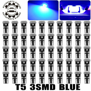 50x Blue T5 Wedge Led Instrument Panel Dash Interior Map Light Bulbs 18 27 37 17