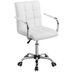Modern Leather Swivel Executive Office Chair White