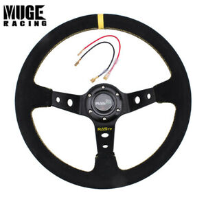 14inch 345mm Suede Grip Steering Wheel Aluminium Spokes For Racing Car Us