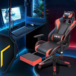 Gaming Chair With Footrest Office Racing Style Computer Swivel Desk Chair