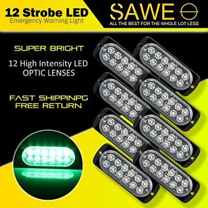 8 X Green 12 Led Car Truck Emergency Beacon Warning Hazard Flash Strobe Light