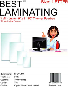 Best Laminating 3 Mil Clear Letter Size Thermal Laminating Pouches 9 X 11 5