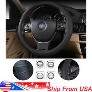 38cm 15 Car Steering Wheel Cover Pu Leather Black Blue Protect Wheel Cover Us