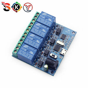 Micro Usb 5v 4 Channel Usb Relay Module Smart Switch Control Serial Port L1st