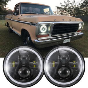 2x 7 Inch Round Projector Led Headlights Halo For Ford F 100 F 150 F 250 F 350