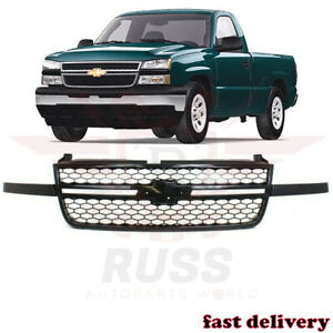 New Front Upper Black Grille Assembly Fits 2003 2007 Chevrolet Silverado 1500 Ss