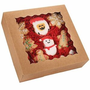 20 pack Pie Boxes With Window 9 X 9 X 2 5 Brown Cookie Boxes Kraft Bakery