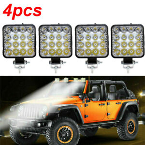 4pcs 48w Led Square Work Light Pods Flood Spot Lamp Car Truck Off Road Tractor
