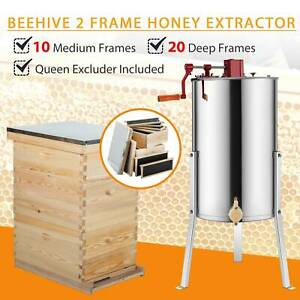 Complete Bee Hive 10 frame 2 Deep Box 1 Medium Box 2 Frame Honey Extractor New