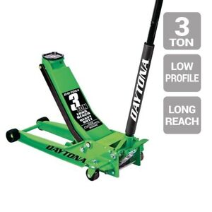 Floor Jack 3 Ton Long Reach Low Profile Professional Rapid Pump Green