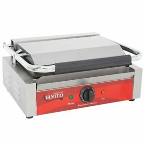 Commercial Red Panini Sandwich Grill W Smooth Plates Cooking 120v 1750w New
