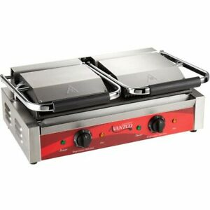 Commercial Double Panini Sandwich Grill W Grooved Top Smooth Bottom 120v 3500w