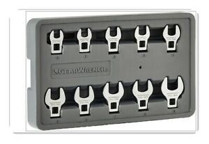 Gearwrench 10 Pc 3 8 Drive Crowfoot Wrench Set Metric 81909 New Mode 2020
