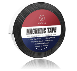 Magnetic Strip Tape 10ft Flexible Roll Adhesive Backed Magnet Strong Sticky Back