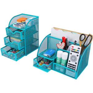 Set Of 2 Desk Organizer Pen Holder Office Supplies Storage Caddy With Drawers