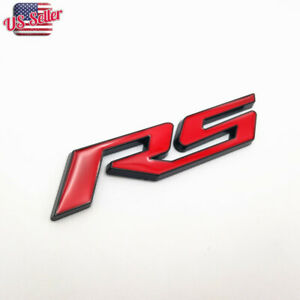 Red With Black rs Side Fender Trunk Emblem Badge Decal For Chevy Chevrolet