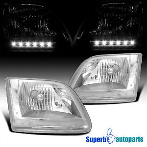 For 1997 2002 Ford F150 Expedition Led Drl Headlights Head Lamps Pair