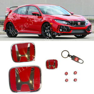 Racing Set Red H Emblem Front Rear Steering Fit 2016 2020 Honda Civic Hatchback