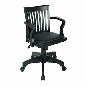 Deluxe Wood Bankers Desk Chair With Black Vinyl Padded Seat Black