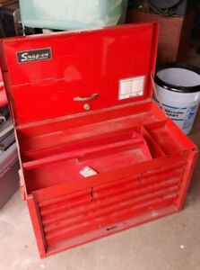 Snap On Tools 9 Drawer Red Tool Chest Box Cabinet 26 Inches Wide Vintage