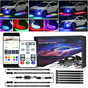 Rgb Led Car Underglow Lights Music Bluetooth App Remote Control Strip Waterproof