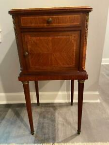 19th Century French Nightstand Table Marble Top Original Mahogany 32 Tall